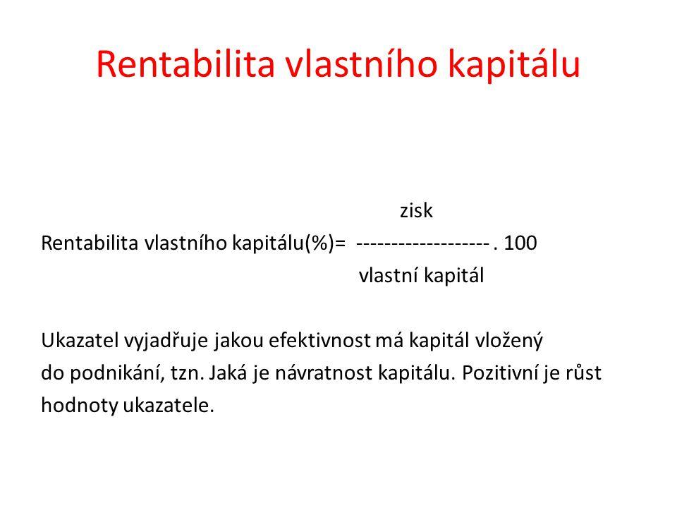 Rentabilita vlastního kapitálu zisk Rentabilita vlastního kapitálu(%)= -------------------. 100 vlastní kapitál Ukazatel vyjadřuje jakou efektivnost m