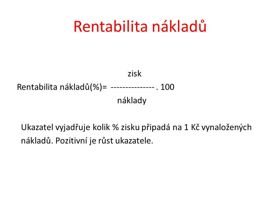 Rentabilita nákladů zisk Rentabilita nákladů(%)= ---------------. 100 náklady Ukazatel vyjadřuje kolik % zisku připadá na 1 Kč vynaložených nákladů. P