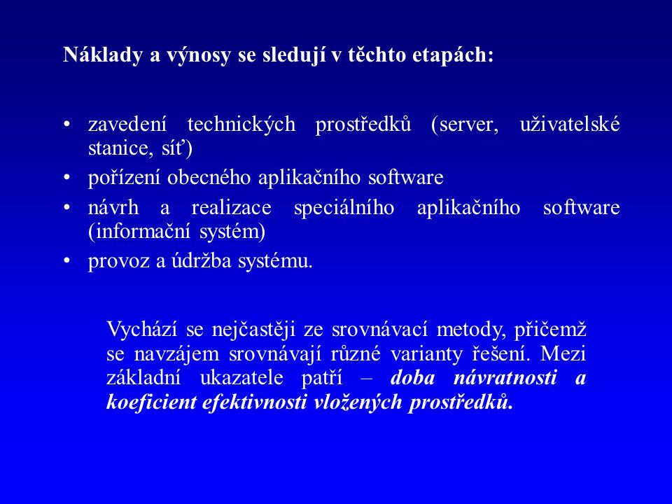 Náklady a výnosy se sledují v těchto etapách: zavedení technických prostředků (server, uživatelské stanice, síť) pořízení obecného aplikačního software návrh a realizace speciálního aplikačního software (informační systém) provoz a údržba systému.