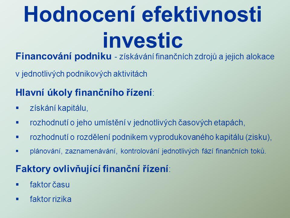 Hodnocení efektivnosti investic Financování podniku - získávání finančních zdrojů a jejich alokace v jednotlivých podnikových aktivitách Hlavní úkoly