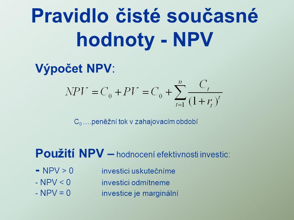 Pravidlo čisté současné hodnoty - NPV Výpočet NPV: C 0 ….peněžní tok v zahajovacím období Použití NPV – hodnocení efektivnosti investic: - NPV > 0 inv
