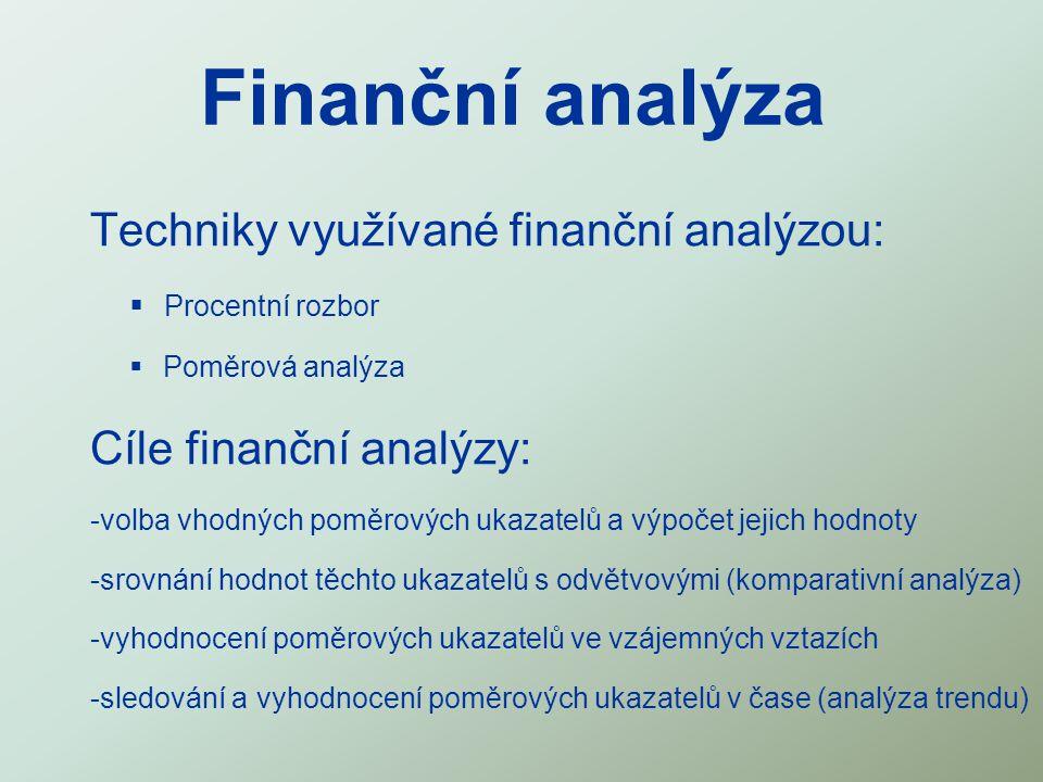 Finanční analýza Techniky využívané finanční analýzou:  Procentní rozbor  Poměrová analýza Cíle finanční analýzy: -volba vhodných poměrových ukazate