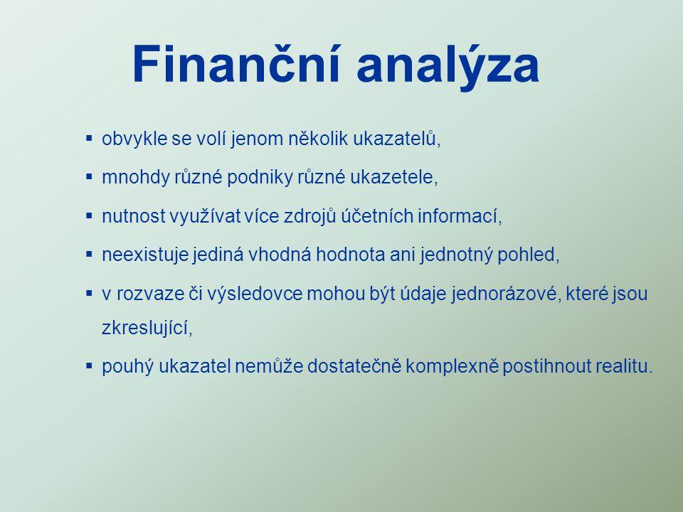 Finanční analýza  obvykle se volí jenom několik ukazatelů,  mnohdy různé podniky různé ukazetele,  nutnost využívat více zdrojů účetních informací,