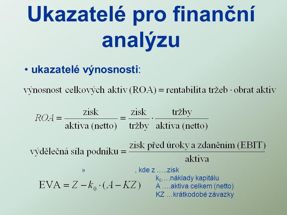 Ukazatelé pro finanční analýzu ukazatelé výnosnosti: », kde z …..zisk k 0 ….náklady kapitálu A ….aktiva celkem (netto) KZ …krátkodobé závazky