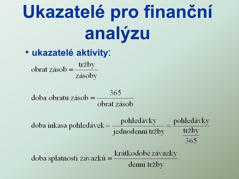 Ukazatelé pro finanční analýzu ukazatelé aktivity :