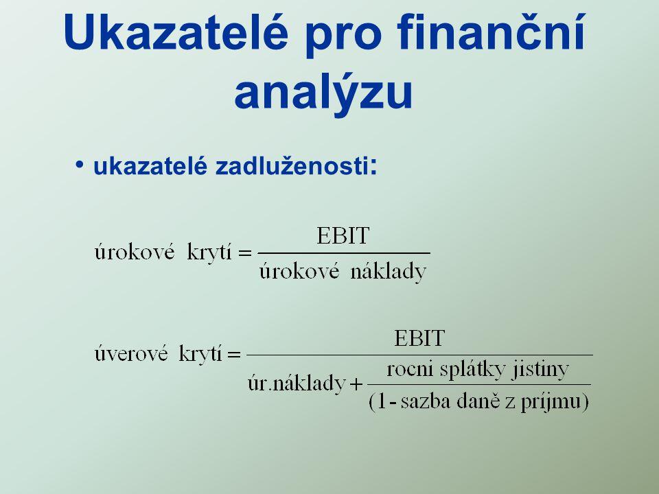 Ukazatelé pro finanční analýzu ukazatelé zadluženosti :