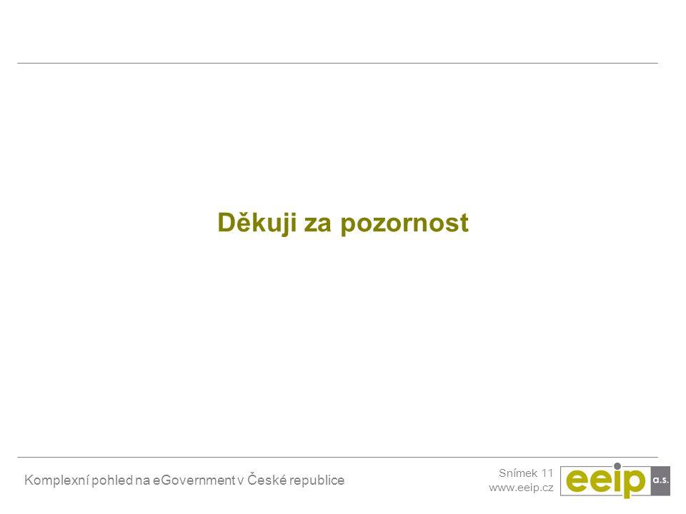 Komplexní pohled na eGovernment v České republice Snímek 11 www.eeip.cz Děkuji za pozornost
