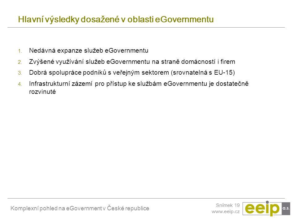 Komplexní pohled na eGovernment v České republice Snímek 19 www.eeip.cz Hlavní výsledky dosažené v oblasti eGovernmentu 1. Nedávná expanze služeb eGov