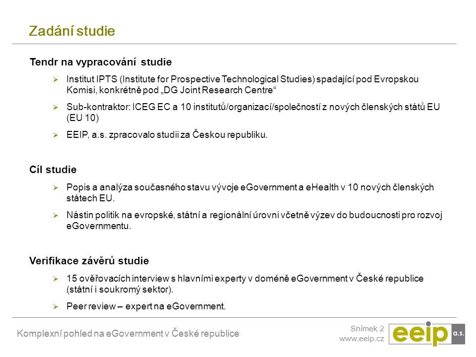 Komplexní pohled na eGovernment v České republice Snímek 23 www.eeip.cz Bariéry rozvoje eGovernmentu 1.