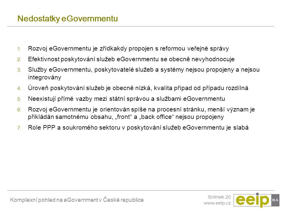 Komplexní pohled na eGovernment v České republice Snímek 20 www.eeip.cz Nedostatky eGovernmentu 1. Rozvoj eGovernmentu je zřídkakdy propojen s reformo