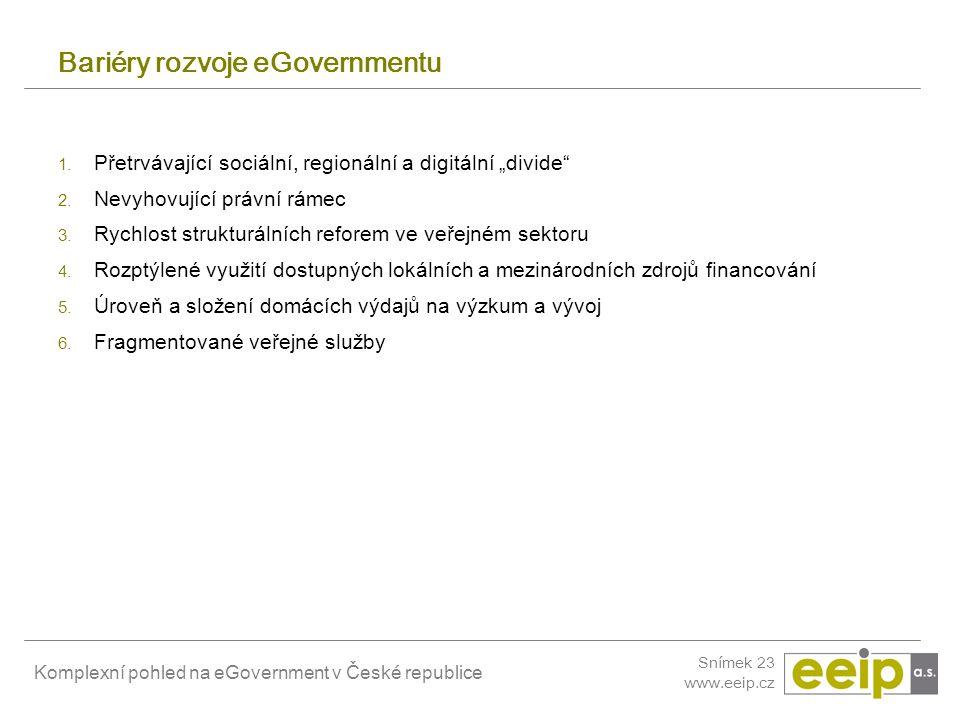 Komplexní pohled na eGovernment v České republice Snímek 23 www.eeip.cz Bariéry rozvoje eGovernmentu 1. Přetrvávající sociální, regionální a digitální