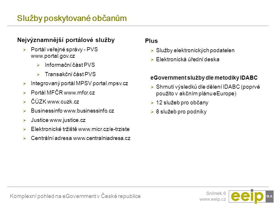 Komplexní pohled na eGovernment v České republice Snímek 6 www.eeip.cz Služby poskytované občanům Nejvýznamnější portálové služby  Portál veřejné spr