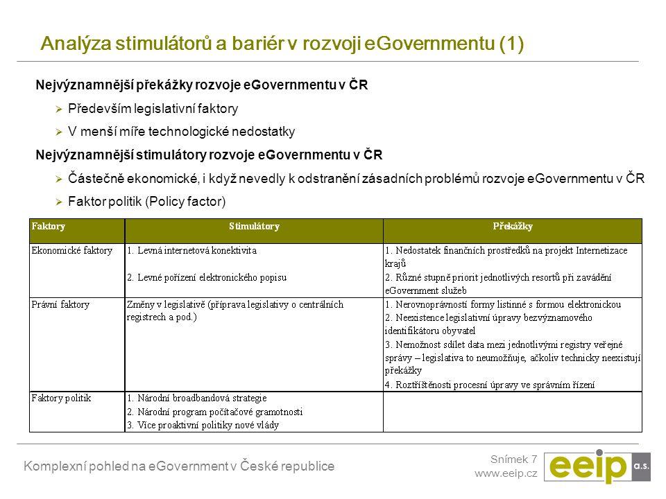 Komplexní pohled na eGovernment v České republice Snímek 7 www.eeip.cz Analýza stimulátorů a bariér v rozvoji eGovernmentu (1) Nejvýznamnější překážky