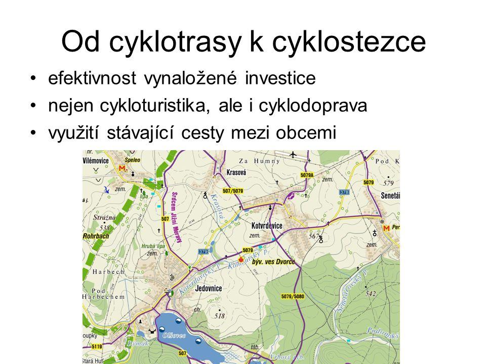 Od cyklotrasy k cyklostezce efektivnost vynaložené investice nejen cykloturistika, ale i cyklodoprava využití stávající cesty mezi obcemi