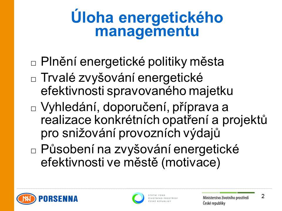 Úloha energetického managementu □ Plnění energetické politiky města □ Trvalé zvyšování energetické efektivnosti spravovaného majetku □ Vyhledání, doporučení, příprava a realizace konkrétních opatření a projektů pro snižování provozních výdajů □ Působení na zvyšování energetické efektivnosti ve městě (motivace) 2