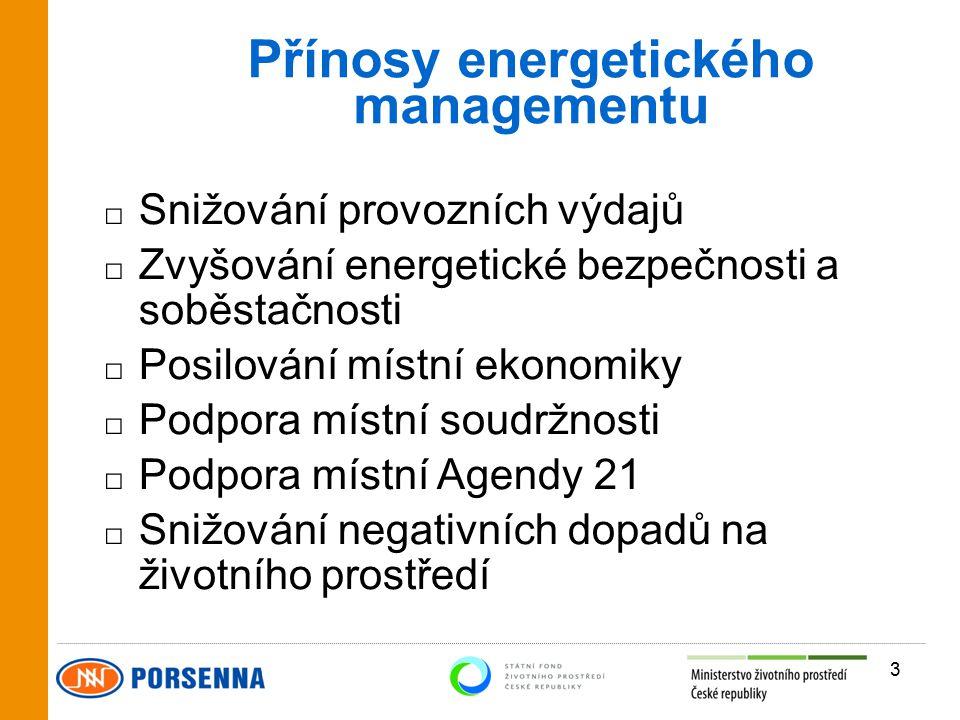 Přínosy energetického managementu □ Snižování provozních výdajů □ Zvyšování energetické bezpečnosti a soběstačnosti □ Posilování místní ekonomiky □ Podpora místní soudržnosti □ Podpora místní Agendy 21 □ Snižování negativních dopadů na životního prostředí 3