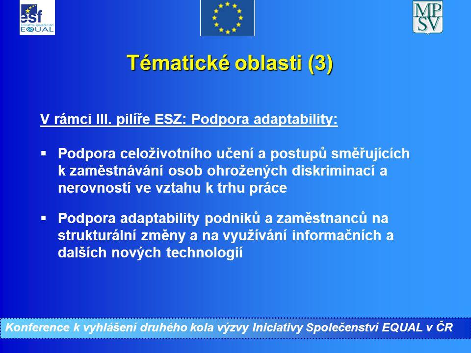 Tématické oblasti (3) V rámci III. pilíře ESZ: Podpora adaptability:  Podpora celoživotního učení a postupů směřujících k zaměstnávání osob ohroženýc