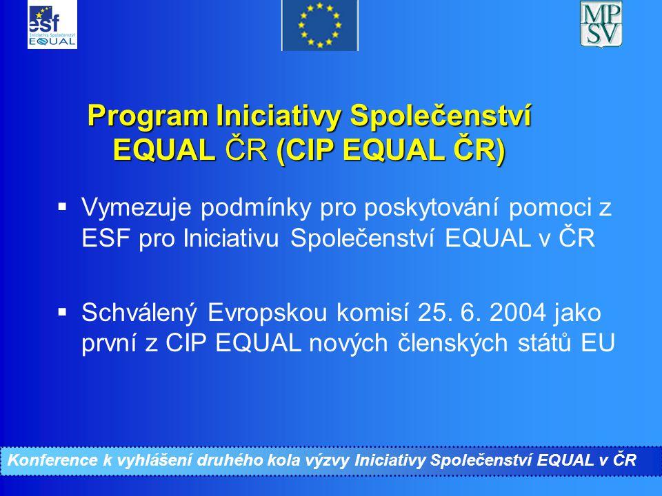 Konference ke II. kolu Iniciativy Společenství EQUAL Program Iniciativy Společenství EQUAL ČR (CIP EQUAL ČR)  Vymezuje podmínky pro poskytování pomoc