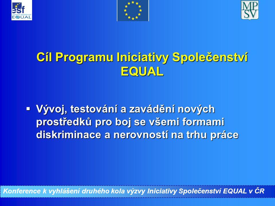 Konference ke II. kolu Iniciativy Společenství EQUAL Cíl Programu Iniciativy Společenství EQUAL  Vývoj, testování a zavádění nových prostředků pro bo