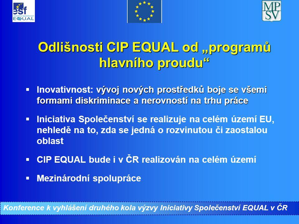"""Konference ke II. kolu Iniciativy Společenství EQUAL Odlišnosti CIP EQUAL od """"programů hlavního proudu"""" vývoj nových prostředků boje se všemi formami"""
