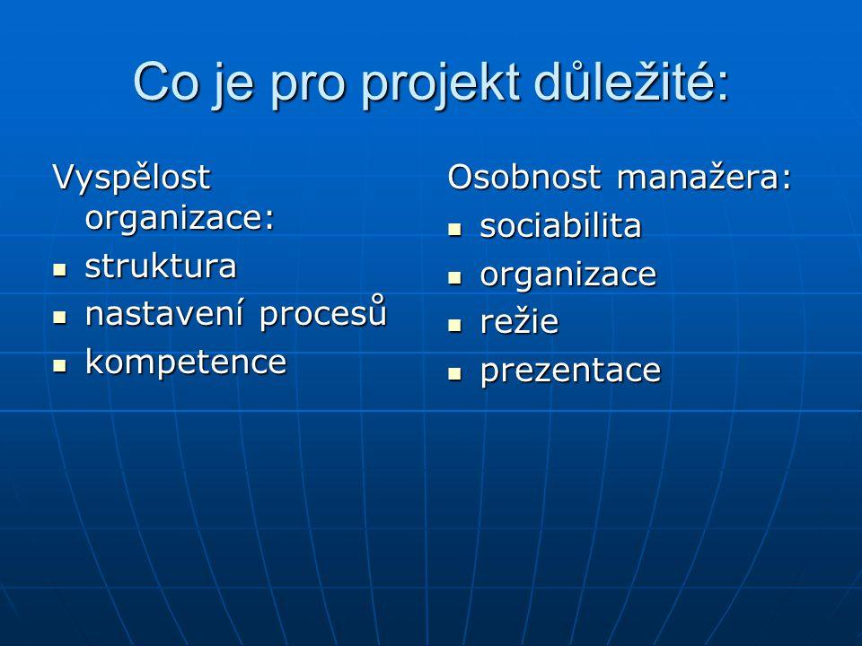Co je pro projekt důležité: Vyspělost organizace: struktura struktura nastavení procesů nastavení procesů kompetence kompetence Osobnost manažera: sociabilita sociabilita organizace organizace režie režie prezentace prezentace