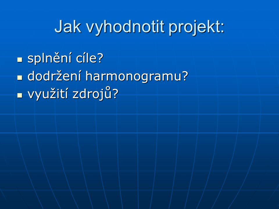 Jak vyhodnotit projekt: splnění cíle. splnění cíle.