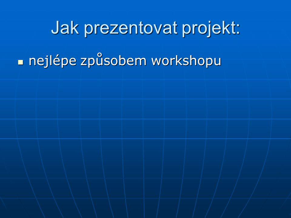 Jak prezentovat projekt: nejlépe způsobem workshopu nejlépe způsobem workshopu