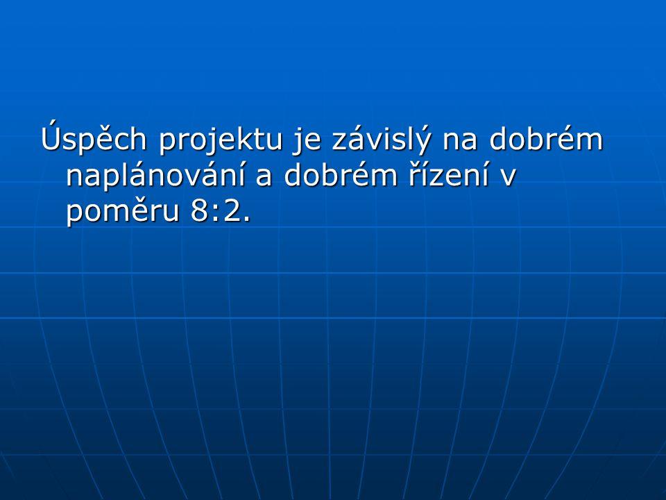 Úspěch projektu je závislý na dobrém naplánování a dobrém řízení v poměru 8:2.