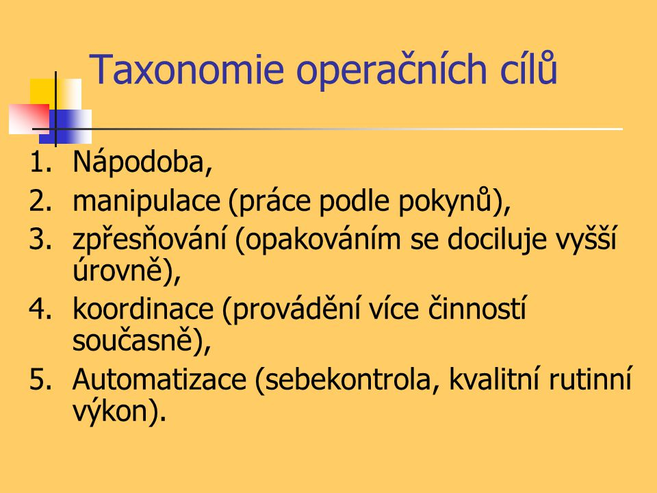 Taxonomie operačních cílů 1.Nápodoba, 2.manipulace (práce podle pokynů), 3.zpřesňování (opakováním se dociluje vyšší úrovně), 4.koordinace (provádění