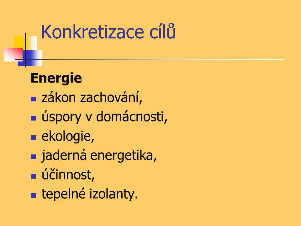 Konkretizace cílů Energie zákon zachování, úspory v domácnosti, ekologie, jaderná energetika, účinnost, tepelné izolanty.