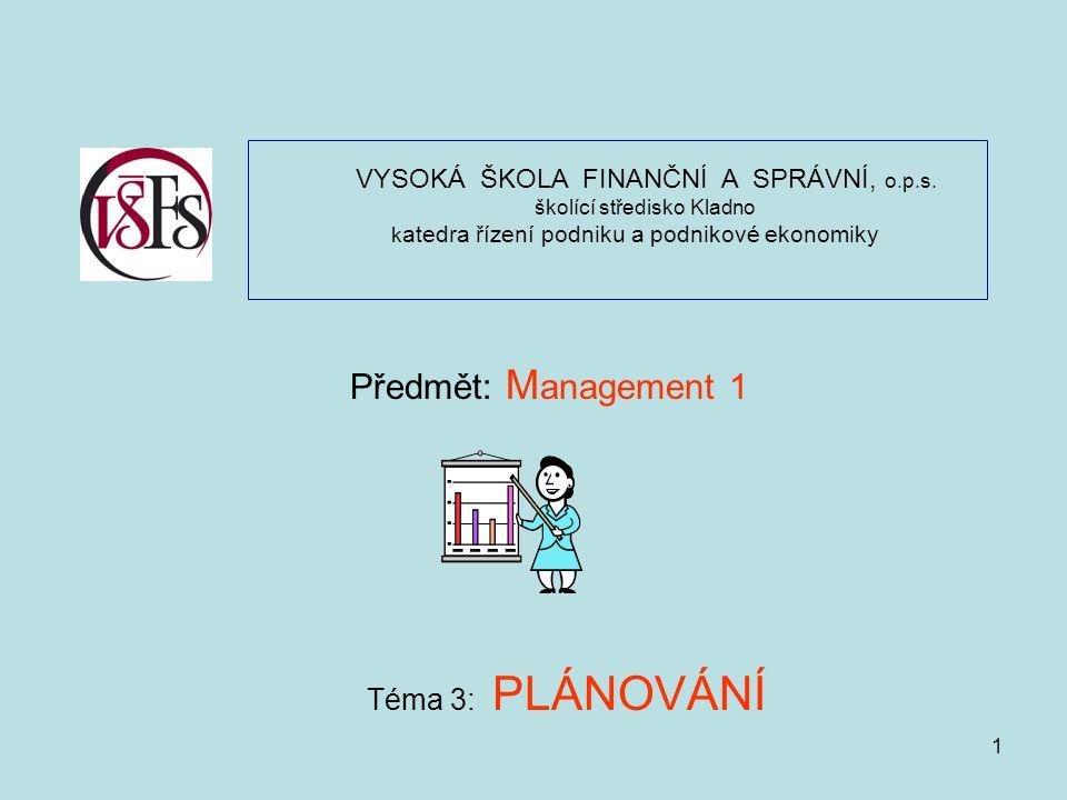 2 Ú K O L Y P L Á N O V Á N Í Prostřednictvím plánů jsou realizovány rozhodující změny ve firmě, instituci a jejich složkách Chování organizace by nemělo být ve vleku denních problémů Propojení strategických, taktických i operativních plánů; Provázanost plánů obchodních, výrobních personálních, technického rozvoje, investic, finančních a dalších; Kaskáda plánů – od celopodnikových plánů až po plány jednotlivých útvarů, úřadů a institucí Plán jako nástroj rozvoje firmy, instituce, úřadu Plán jako prostředek zabezpečující koordinaci a proporcionalitu z časového hlediska z věcného hlediska z hlediska organizačních úrovní