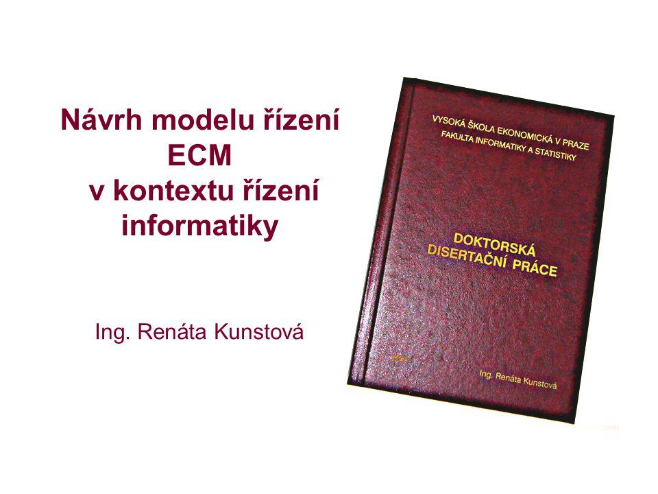 Návrh modelu řízení ECM v kontextu řízení informatiky Ing. Renáta Kunstová