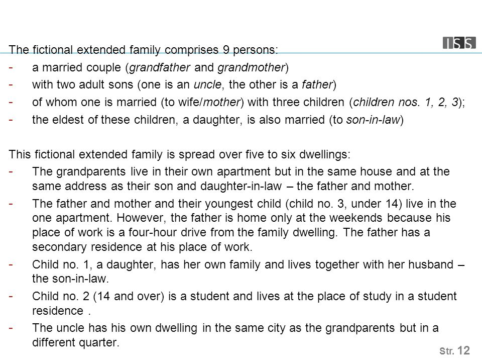 The fictional extended family comprises 9 persons: - a married couple (grandfather and grandmother) - with two adult sons (one is an uncle, the other is a father) - of whom one is married (to wife/mother) with three children (children nos.