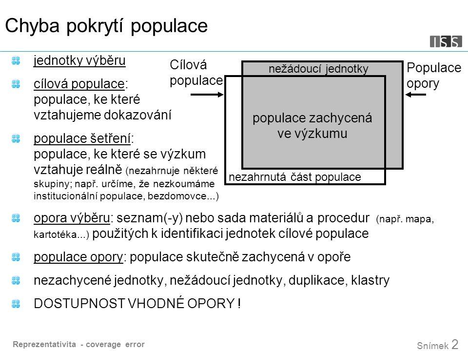 Reprezentativita - coverage error Snímek 2 Chyba pokrytí populace jednotky výběru cílová populace: populace, ke které vztahujeme dokazování populace šetření: populace, ke které se výzkum vztahuje reálně (nezahrnuje některé skupiny; např.