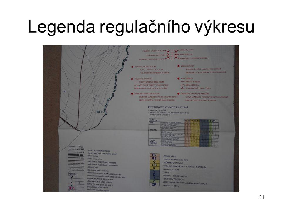 Legenda regulačního výkresu 11