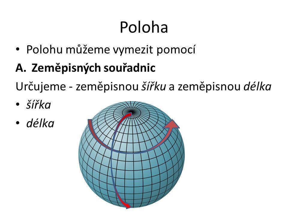Poloha Polohu můžeme vymezit pomocí A.Zeměpisných souřadnic Určujeme - zeměpisnou šířku a zeměpisnou délka šířka délka