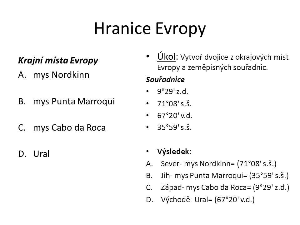 Hranice Evropy Krajní místa Evropy A.mys Nordkinn B.mys Punta Marroqui C.mys Cabo da Roca D.Ural Úkol: Vytvoř dvojice z okrajových míst Evropy a zeměpisných souřadnic.
