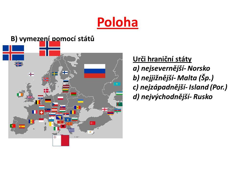 Poloha B) vymezení pomocí států Urči hraniční státy a) nejsevernější- Norsko b) nejjižnější- Malta (Šp.) c) nejzápadnější- Island (Por.) d) nejvýchodnější- Rusko