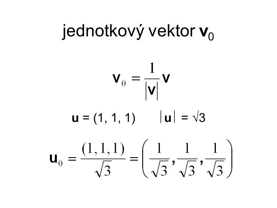 jednotkový vektor v 0 u = (1, 1, 1)  u  =  3