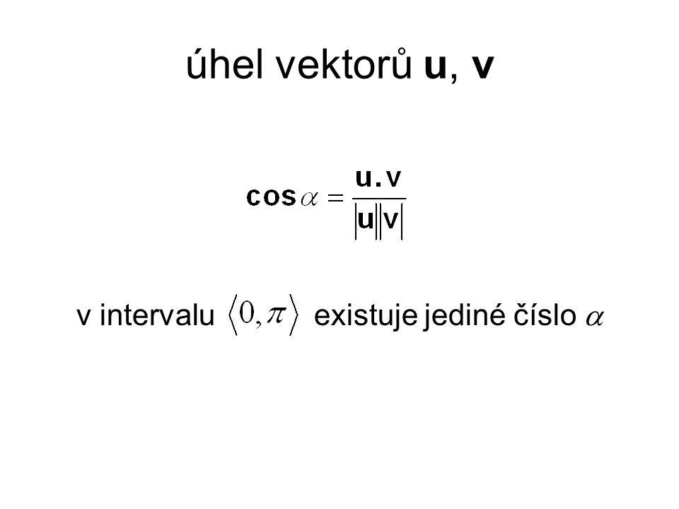 úhel vektorů u, v v intervalu existuje jediné číslo 