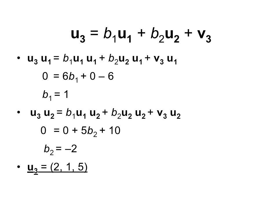 u 3 = b 1 u 1 + b 2 u 2 + v 3 u 3 u 1 = b 1 u 1 u 1 + b 2 u 2 u 1 + v 3 u 1 0 = 6b 1 + 0 – 6 b 1 = 1 u 3 u 2 = b 1 u 1 u 2 + b 2 u 2 u 2 + v 3 u 2 0 =
