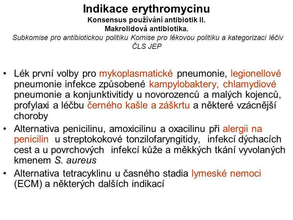 Indikace erythromycinu Konsensus používání antibiotik II. Makrolidová antibiotika. Subkomise pro antibiotickou politiku Komise pro lékovou politiku a