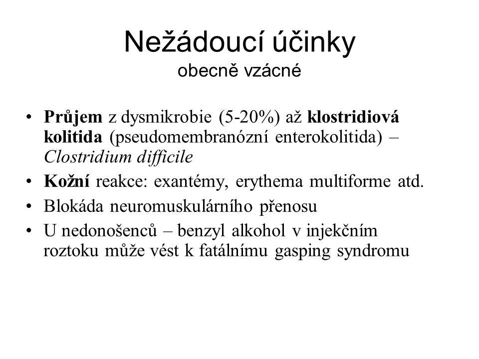 Nežádoucí účinky obecně vzácné Průjem z dysmikrobie (5-20%) až klostridiová kolitida (pseudomembranózní enterokolitida) – Clostridium difficile Kožní