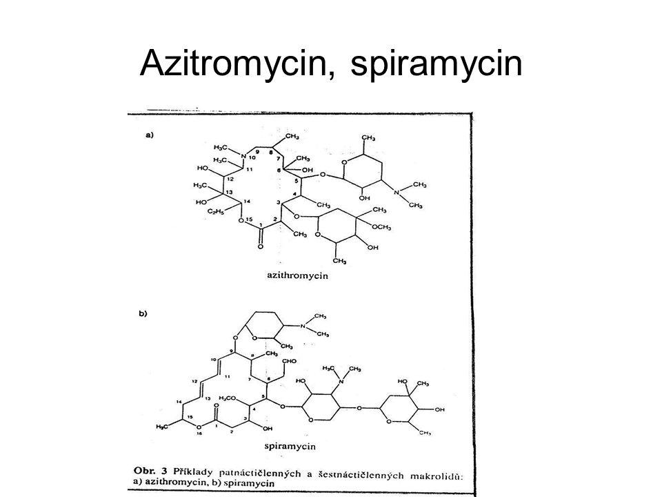 Spektrum účinku Starší (50 léta) pokrývají zhruba spektrum penicilinu (G+ koky) Nové (80 léta) účinek identický + některé G- mikroby respiračního traktu, Oba účinek na intracelulárně uložené mikroorganismy- legionelly, chlamydie, mykoplasmata, Toxoplasma gondii Klarithromycin navíc na Helicobacter pylori Azithromycin na Haemophillus influenzae Oba specifický účinek na Mycobacterium avium complex