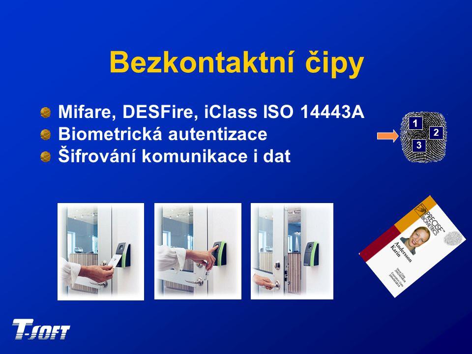 Bezkontaktní čipy Mifare, DESFire, iClass ISO 14443A Biometrická autentizace Šifrování komunikace i dat 1 2 3