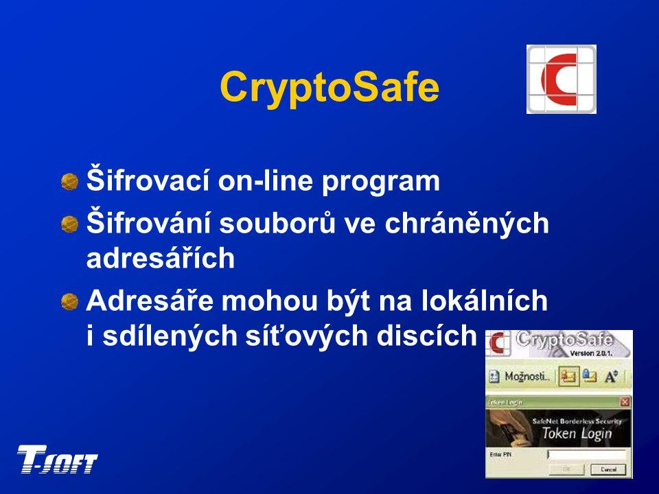 CryptoSafe Role bezpečnostního správce Role recovery agenta Jednoduchá instalace a užívání Automatické přešifrování