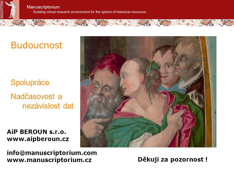 Budoucnost Spolupráce Nadčasovost a nezávislost dat AiP BEROUN s.r.o. www.aipberoun.cz info@manuscriptorium.com www.manuscriptorium.cz Děkuji za pozor
