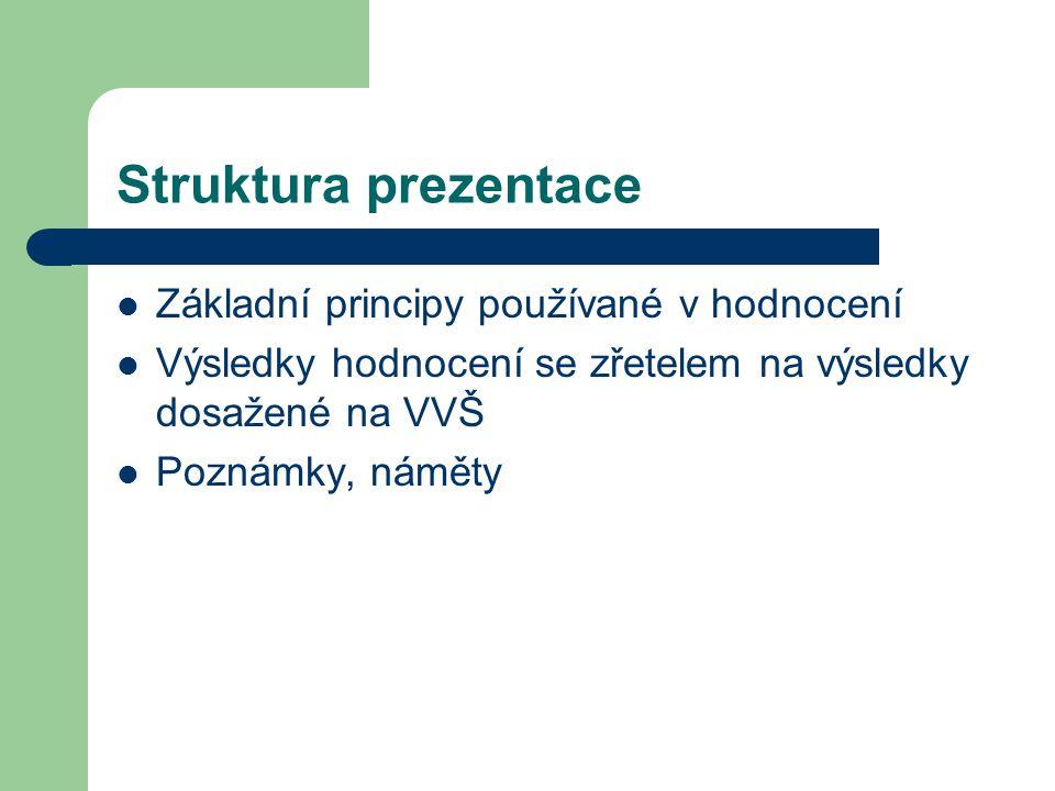 Struktura prezentace Základní principy používané v hodnocení Výsledky hodnocení se zřetelem na výsledky dosažené na VVŠ Poznámky, náměty