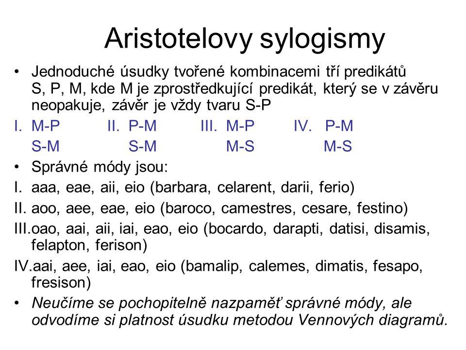 Aristotelovy sylogismy Jednoduché úsudky tvořené kombinacemi tří predikátů S, P, M, kde M je zprostředkující predikát, který se v závěru neopakuje, zá