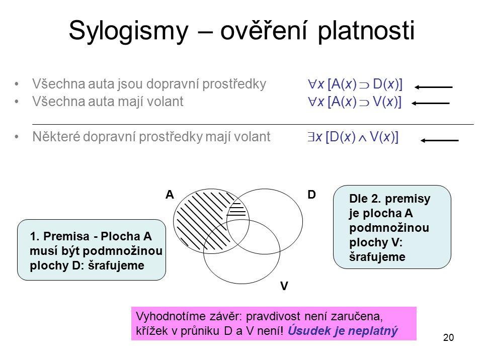 20 Sylogismy – ověření platnosti Všechna auta jsou dopravní prostředky  x [A(x)  D(x)] Všechna auta mají volant  x [A(x)  V(x)] Některé dopravní p